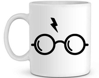 Harry potter glasses and lightning bolt mug