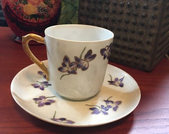Ch. Field Haviland, Limoges, France Fine China Miniature Tea Cup and Saucer
