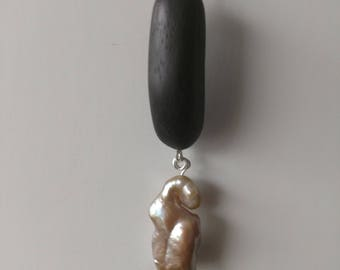 Rosewood and Baroque Pearl Pendant