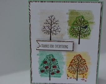 Hand Stamped Four Seasons Thank You Card