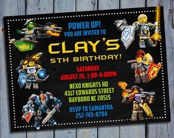 Lego Nexo Knights Invitation, Lego Nexo Knight Birthday, Lego Party, Lego Invites, Digital Card Printables, Printable Personalized Invite