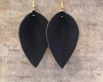 Black Petal Leather Earrings, Genuine Leather, Lightweight Leather, Gifts for her