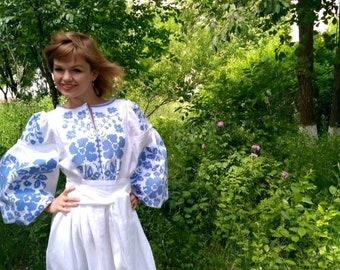 Boho Embroidered Long Dress With Beautiful Flowers White Linen Abaya Full Length Dress Ethnic Custom Bohemian Dress Ukrainian Embroidery