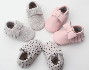 Baby Moccasins, Baby Moccasins, Baby Leather Shoes, Genuine Leather Moccs, Toddler Moccasins, Baby Bow Moccasins