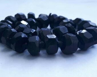 Black Tourmaline 5-6mm Hexagonal Type Beads - 28 pieces
