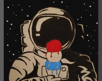 Red Hot Chili Peppers Poster Art Ice Cream for an Astronaut RHCP