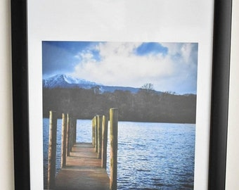 ON SALE Framed print, photography, jetty photograph, lake district, Derwent water, Keswick, home decor, wall art, A4 frame available in 3 co