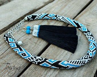 necklace, necklace tube, colored Necklace, Seed bead necklace, crochet rope, rope necklace, crochet necklace, beaded rope necklace,choker,