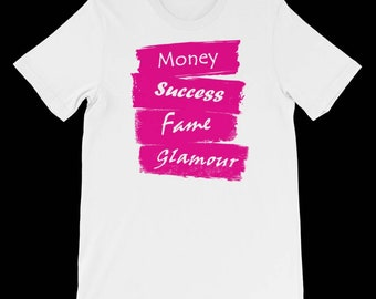 Deathwish Money Success Fame Glamour T-shirt white & pink