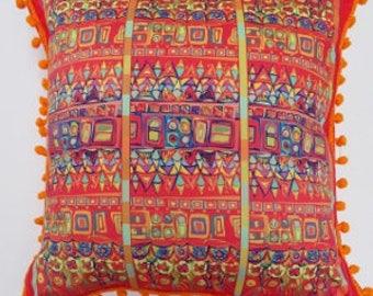 Scatter Cushion Persian Carpet Pom Pom Braid