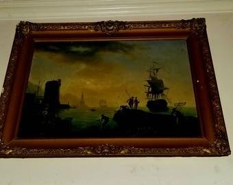 Antique flemish marine painting