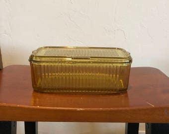 Vintage Amber Gold Ribbed Glass