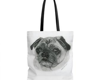 Unique Pug Designed Tote Bag by Helen Glover