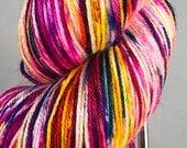 Ready to ship, 100g, Snow Dyed Yarn, Hand Dyed Yarn, Silk:Merino Yarn, DK Yarn, Rainbow Yarn, Variegated Yarn, Superwash Yarn, Neon Yarn