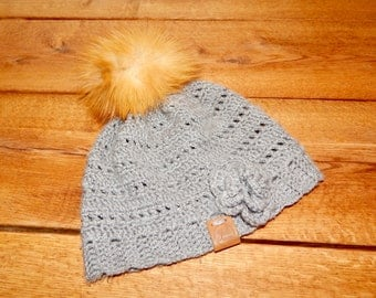 Crocheted, grey Beanie
