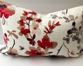 Decorator Throw Pillow 18x12 Lumbar Watercolor Grey White Floral with Feather Insert
