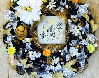 Oh Hello Honey Welcome Door Wreath