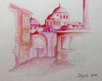 "Street Scene from Istanbul-Turkey, original watercolor painting, 9""x12"""