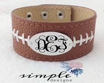 Football Leather Cuff Bracelet, Monogrammed Bracelet