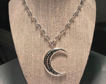 Silver & Black Crescent Moon Necklace