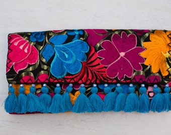 Mexican,embroidered, clutch, colorful