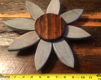 Blue washed pine flower wall decor