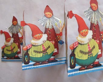 Vintage Sweden Christmas Running Frieze Folding Paper Gnomes Scene 1960s