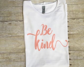 Be Kind curved tee salmon and white