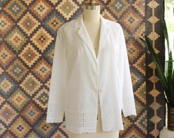 70s 80s white eyelet jacket . boho folk blazer, very lightweight & sheer . womens size small