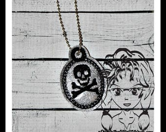 SKuLL CRoSSBONES Bones PiRATE PENDaNT NECKLaCE ~ In the Hoop ~ Downloadable DiGiTaL Machine Embroidery Design by Carrie