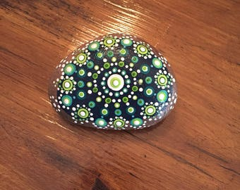Dot Art Mandala Hand Painted River Rock