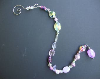 Suncatcher, Yard Art, PURPLE / SILVER / decor, Glass beads, Crystals, original, one of a kind, vintage beads