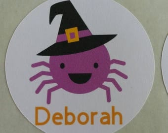 Personalized Halloween Spider Stickers for Back to School, Name labels, cards, etc set of 20