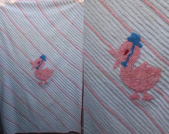 Vintage 40s Stork Chenille Baby Blanket / Pink and White handmade Nursery Sheet Blanket topper