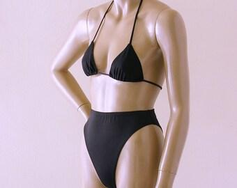 80s High Leg High Waist Brazilian Bikini Bottom and Triangle Top in Black