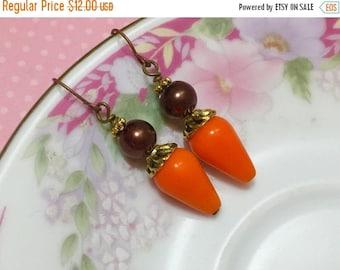 SALE Pumpkin Orange Earrings, Fall Earrings, Autumn Earrings, Brown Pearl Earrings with Antique Gold Accents, Retro Chunky Earrings