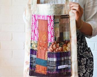 Ultra Violet Boho Shoulder Tote Textile Art Large Pocket patchwork Upcycled Bag Wabisabi