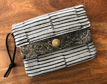 Mini Minimalist Wallet - Gray and Black Stripes