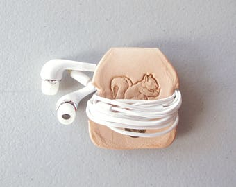 Leather Earbud Keeper, Earphones Organizer, Tech Accessories, Gift for Him, Vegetable Tanned Leather, Squirrel Stamp