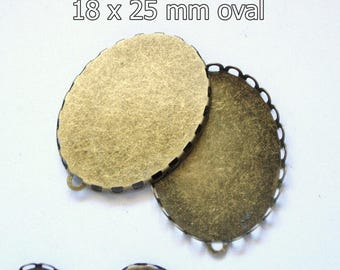 50 Fancy lace edge cabochons, 18x25 jewelry setting, 25x18 antiquedantique bronze bezel, oval charm, cameo setting, diy jewelry supplies