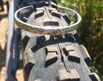 Mountain Bike Cycling Story Cuff - Sterling Silver and Copper