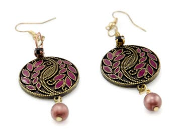 Plum And Brass Filigree Earrings With Glass Pearl