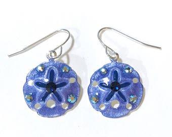 Sand Dollar Earrings Handpainted in Denim Blue