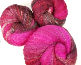 Cherry Berry -- classic batts -- (4.4 oz.) organic polwarth wool, bamboo,silk, sparkle.