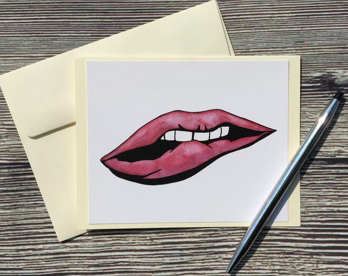 Featured listing image: Bitten Lip Original Watercolor Print - Valentine's Day - Ivory Note Card