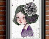 VIOLET A watercolor portrait study poster print of girl with dark hair, purple dress and a big had painted flower in her head by Danita Art