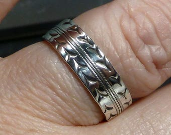 sterling silver cigar band tire tread ring laser cut mens or womens car truck automotive size - Mud Tire Wedding Rings