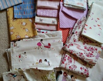 Over 15 Yards Rare Sarah Jane Fabric Lot. Yards, half yards, fat quarters, Quilting Cotton. Over 6 POUNDS. Children at Play and Wee Wanderer