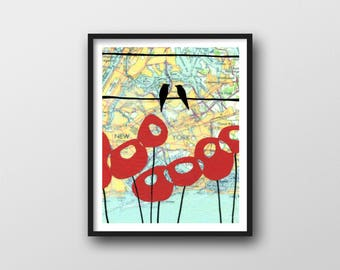 New York City Print with Poppy Art and Birds on Wire // 11x14 Art Print with New York Map