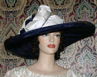 Kentucky Derby Hat Tea Party Hat Titanic Hat Edwardian Hat Ascot Hat Somewhere in Time Hat - Titanic - Wide Brim Hat